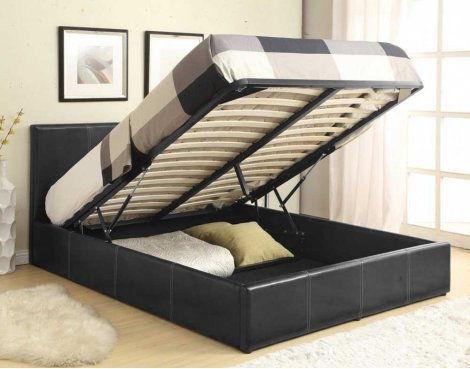 Luxan Ottoman Black 4\'0 Small Double Bed with Mattress & 4 Pillows