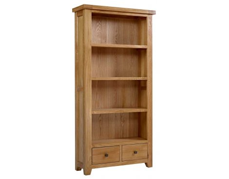 Rustic Grange Devon Oak Large Bookcase