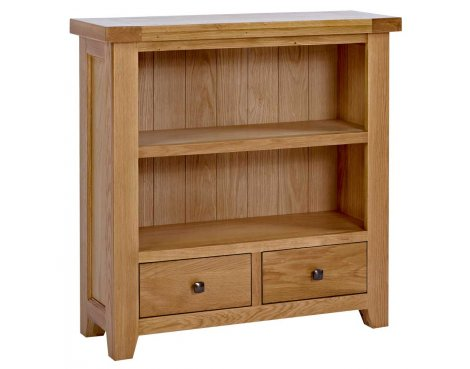 Rustic Grange Devon Oak Low Bookcase