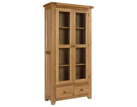 Rustic Grange Devon Oak Glazed Display Cabinet