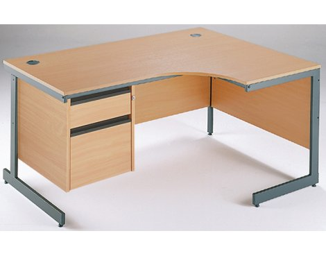 DSK Office Left Handed Ergonomic Desk - 2 Drawer Fixed Pedestal in Beech