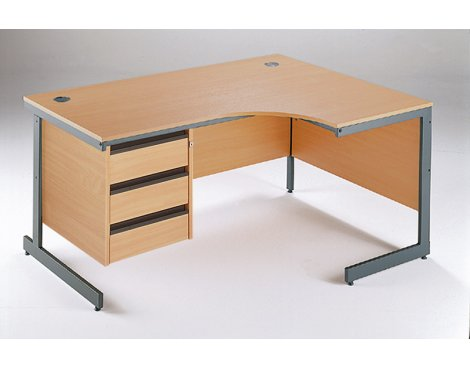 DSK Office Left Handed Ergonomic Desk - 3 Drawer Fixed Pedestal in Beech