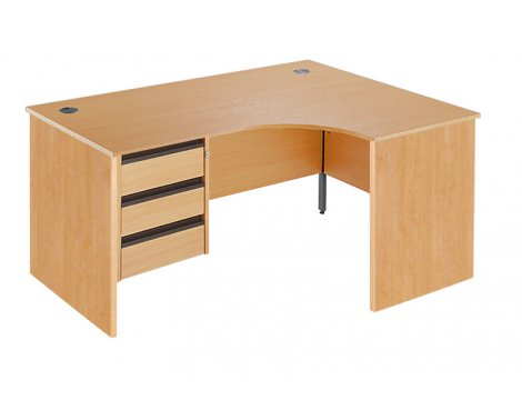DSK Office Left Handed Fixed Panel Ergonomic Desk - 3 Drawer in Beech