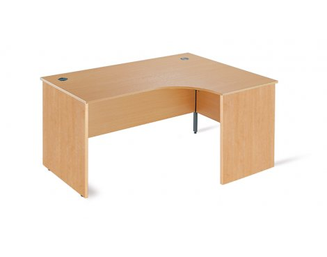 DSK Office Left Handed Ergonomic Desk With Panel Hends - 1500mm in Beech