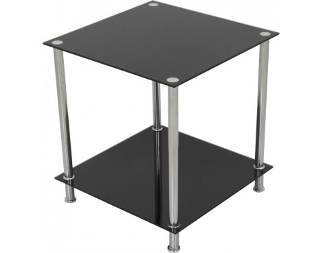 AVF T52 Glass 2 Tier Lamp Table - Black