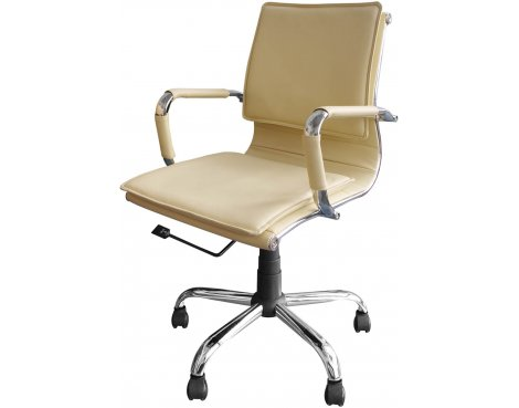 Alphason Emerson Designer Faux Leather Chair - Cream