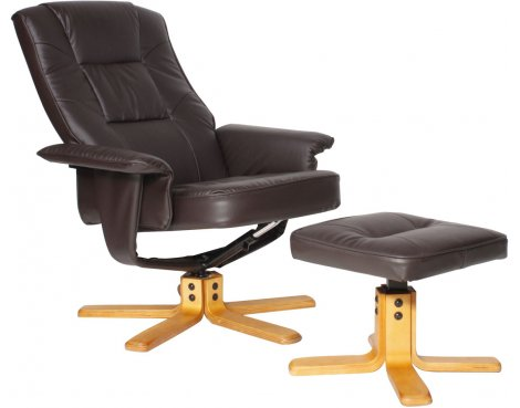 Alphason Drake Reclining Chair with Footstool - Brown