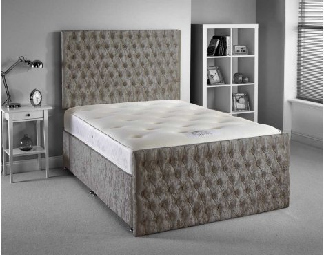 Luxan Provincial Bed Set - Silver - Small Double 4ft - 4 Drawers
