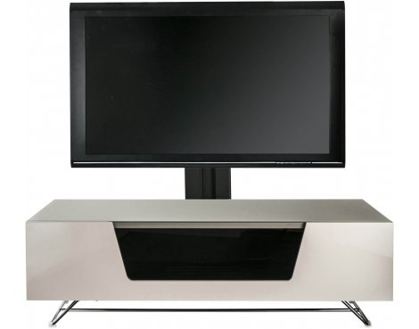"""Alphason Chromium Ivory Cantilever TV Stand for up to 50\"""" TVs"""