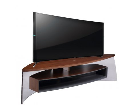 """Techlink Air Curve TV Stand for up to 70\"""" TV\'s - Walnut & Satin Grey"""