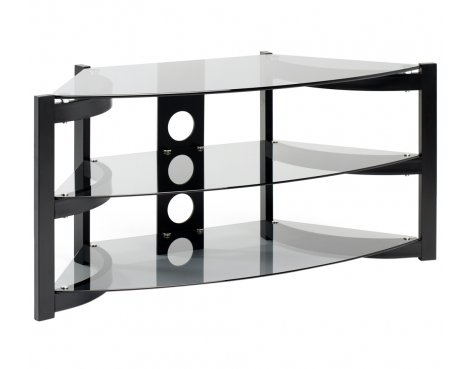 Techlink Skala Corner TV Stand - Satin Black & Smoked Glass