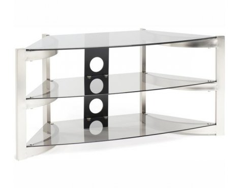 B Grade/Box slightly damaged Techlink Skala Corner TV Stand - Brushed Titanium & Smoked Glass