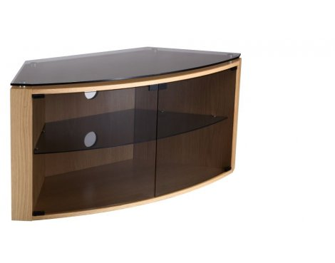 "Techlink Bench TV Stand for up to 55"" TV\'s - Light Oak with Smoked Glass"