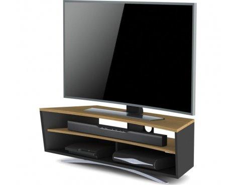 "Techlink Prisma TV Stand for up to 65\"" TV\'s - Satin Black & Light Oak"