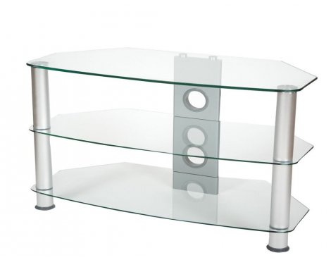 ValuFurniture Brisa 800mm Clear Glass TV Stand for up to 42""
