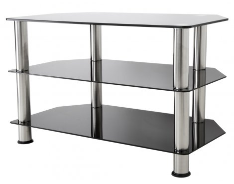 "AVF Universal Black Glass and Chrome Legs TV Stand For up to 40"" TVs"