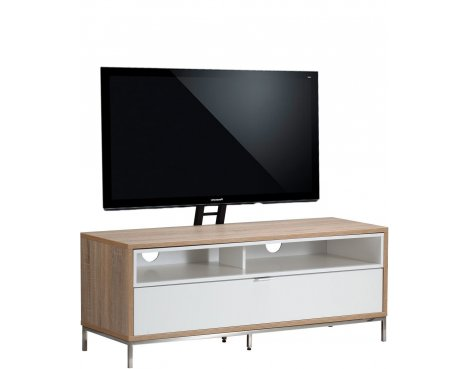"Alphason Chaplin 1135 Cantilever Stand for TVs up to 65"" - Oak & White"