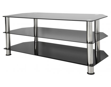 """AVF Universal Black Glass and Chrome Legs TV Stand For up to 55\"""" TVs"""