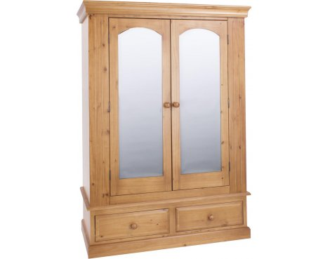 Core Products Edwardian 2 Mirrored Door 2 Drawer Wardrobe - Pine