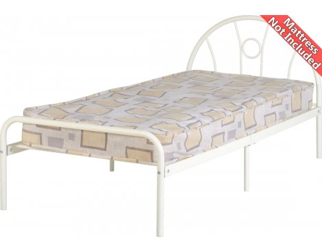 ValuFurntire Nova Metal Bed Frame Bed - Single 3ft - White