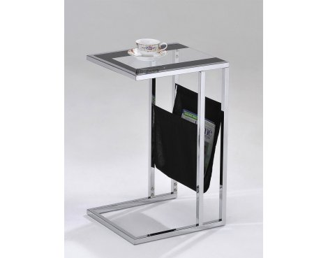 ValuFurniture Sheldon Magazine Table - Clear & Black Glass
