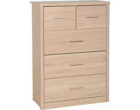 ValuFurniture Lisbon 3+2 Drawer Chest - Light oak