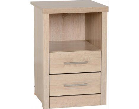 ValuFurniture Lisbon 2 Drawer Bedside Cabinet - Light oak