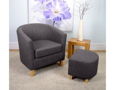 Shankar Linen Effect Tub Chair + Stool Set - Charcoal