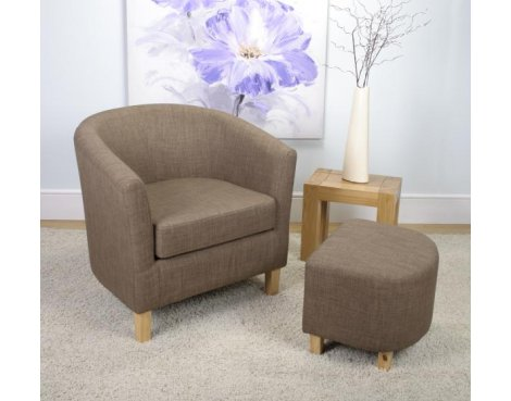 Shankar Linen Effect Tub Chair + Stool Set - Cinnamon