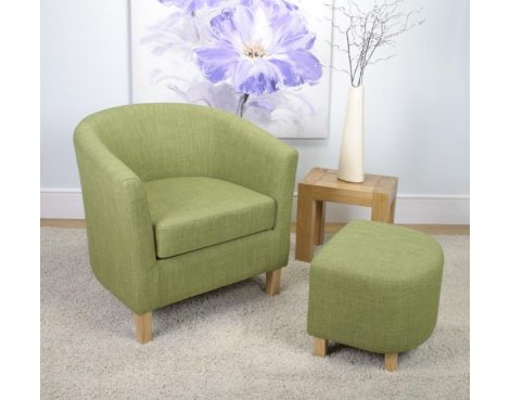 Shankar Linen Effect Tub Chair + Stool Set - Lime