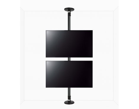 "B-Tech Floor To Ceiling Mount For Up To 2 x 55"" 2m Pole - Black"