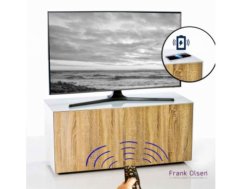 """Frank Olsen INTEL1100WOK White TV Cabinet For TVs Up To 55\"""" 55\"""" FREE IPHONE CASE"""
