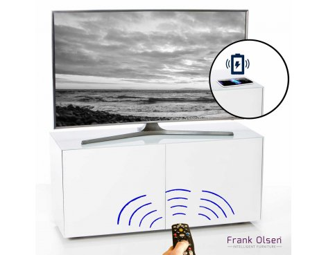 """Frank Olsen INTEL1100WHT White TV Cabinet For TVs Up To 55\"""" FREE IPHONE CASE"""