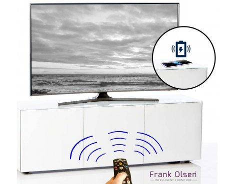 """Frank Olsen INTEL1500WHT White TV Cabinet For TVs Up To 70\"""" FREE IPHONE CASE"""