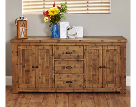 Baumhaus Heyford CRS02C Rough Sawn Oak Large Sideboard