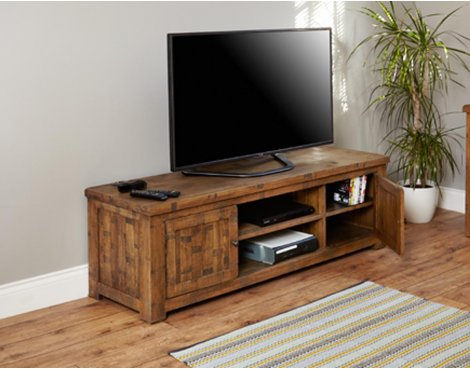 Baumhaus Heyford CRS09B Rough Sawn Oak Widescreen Television Cabinet
