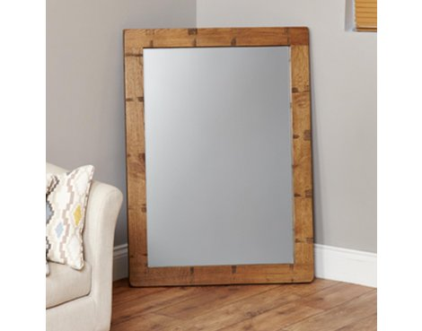 Baumhaus Heyford CRS16A Rough Sawn Oak Chunky Wall Mirror