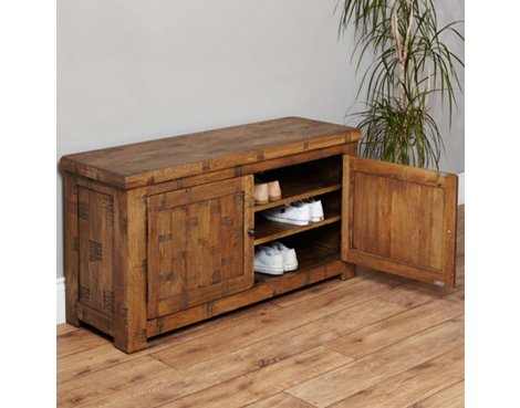 Baumhaus Heyford CRS20c Rough Sawn Oak Shoe Storage Bench