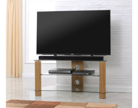 TNW Vision Curve 1000 Oak and Clear Glass TV Stand