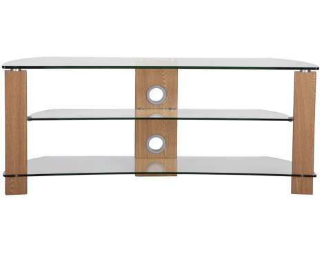 B GRADE TNW Vision Curve 1000 Oak and Clear Glass TV Stand