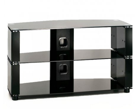 ValuFurniture Impact 850 Piano Black Glass TV Stand