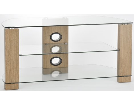 Display Model - TNW Vision 1050 Oak and Clear Glass TV Stand