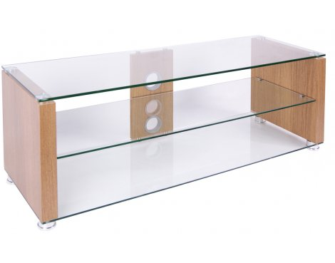 TNW Elegance 1000 Oak Veneer and Clear Glass TV Stand