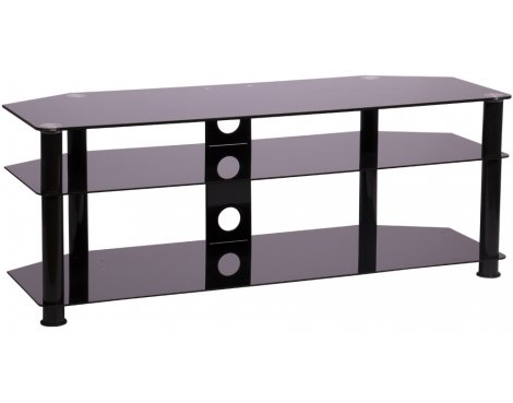 MMT P5BLK1250 Black Glass Corner TV Stand for up to 55""