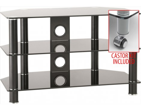 """TNW Classik 800mm Black Glass TV Stand for TVs up to 37\"""" - With Castor Kit"""