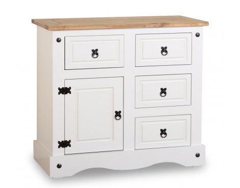 ValuFurniture Corona 1 Door 4 Drawer Sideboard - White