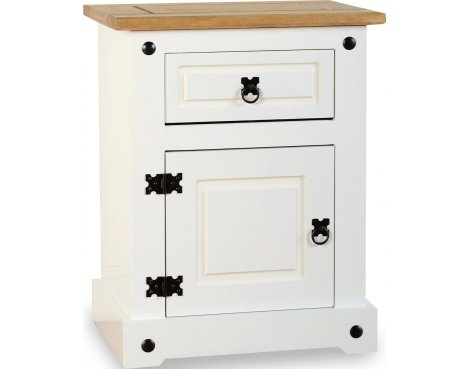 ValuFurniture Corona 1 Drawer 1 Door Bedside Cabinet - White