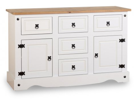 ValuFurniture Corona 2 Door 5 Drawer Sideboard - White