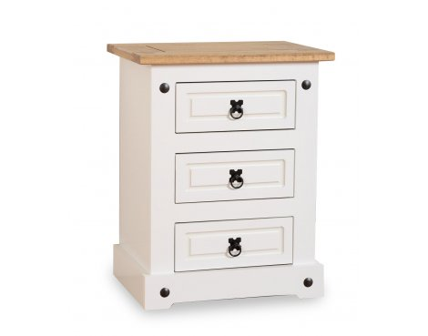 ValuFurniture Corona 3 Drawer Bedside Chest - White