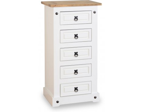 ValuFurniture Corona 5 Drawer Narrow Chest - White